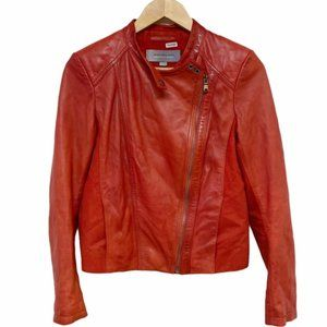 Andrew Marc Red Leather Biker Jacket, Size Small